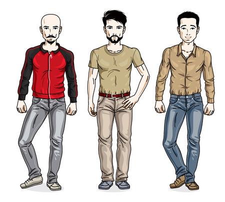 Uomini belli in posa indossando abiti casual. Set di illustrazioni vettoriali diverse persone. Personaggi maschili a tema stile di vita.