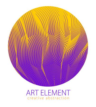 Hermoso elemento de arte, textura lineal de superficie o textil en forma de círculo. Fondo de perspectiva 3d abstracto de vector para diseños, carteles, pancartas, impresión y web. Genial y motivacional.