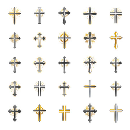 Crosses of Christianity Religion emblems set. Heraldic Coat of Arms decorative logos isolated vector illustrations collection. Illustration