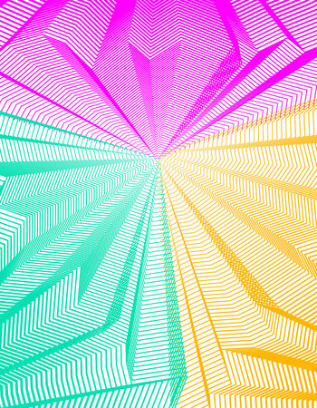 Abstract linear textured vector art background for design, psycho hypnotic futuristic 3d space inside the box or room. Fantastic psychedelic trendy modern op art, optical dimensional illusion.