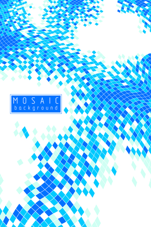 Bright and beautiful vector 3d mosaic tiles illustration, artistic abstract background as a template for layout with copy space for title and text. Usable for brochure, magazine, ad, banner, poster.  イラスト・ベクター素材
