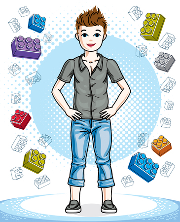 Cute little teen boy standing wearing fashionable casual clothes. Vector human illustration. Fashion and lifestyle theme cartoon. Illustration