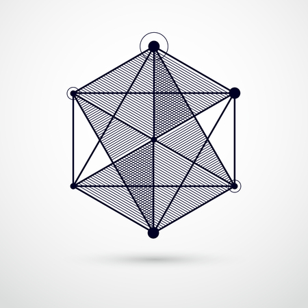 Vector drawing of black and white industrial system created with lines and 3D cubes. Modern geometric composition can be used as template and layout. Vectores