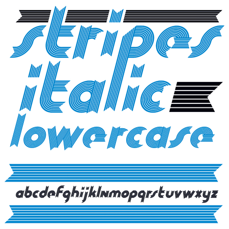 Vector trendy modern lowercase alphabet letters collection. Classic italic bold type font, script from a to z can be used for logo creation. Created using stripy, parallel lines.