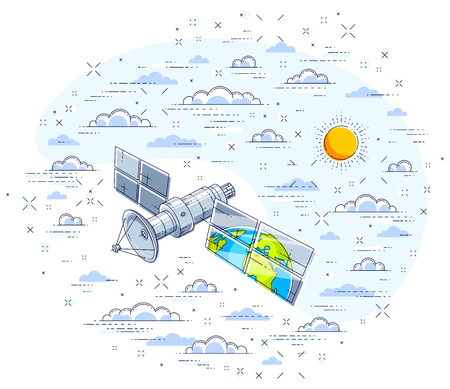 Global communication technology satellite flying in the cloudy sky and reflecting earth in solar panels. Thin line 3d vector illustration isolated on white.