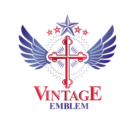 Cross of Christianity graphic winged emblem, the faith is free. Heraldic vector design element. Retro style label, religious insignia decorated with bird wings and pentagonal star.