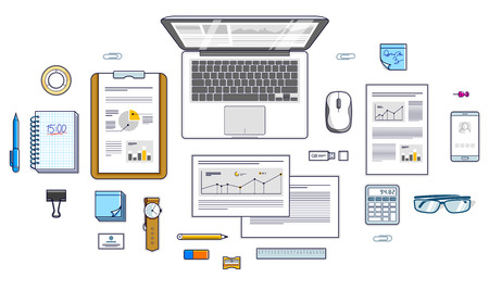 Office employee or entrepreneur work desk workplace with PC notebook and analytics papers with graphs and data and stationery objects on table. All elements are easy to use separately. Vector. Illustration