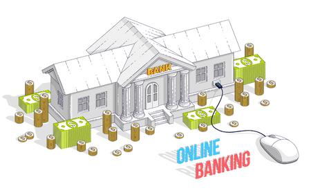Concepto de banca en línea, edificio bancario con ratón de ordenador y pila de dinero en efectivo y monedas aisladas sobre fondo blanco. Vector ilustración isométrica 3d de negocios y finanzas, diseño de línea fina. Ilustración de vector