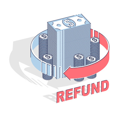 Money Refund concept, cash money stack with radial loop arrows around. Vector 3d isometric business and finance illustration, thin line design.