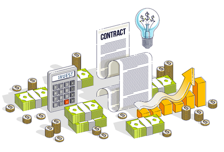 Financial contract concept, paper document and cash money stacks with calculator and light bulb idea isolated. Isometric vector business and finance illustration, 3d thin line design. Standard-Bild - 112351108