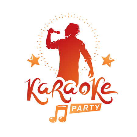 Karaoke party advertising poster composed with stage or recorder microphone vector illustration and musical notes. Superstar performance advertising announcement, feel yourself like a star. Stock fotó - 111654888