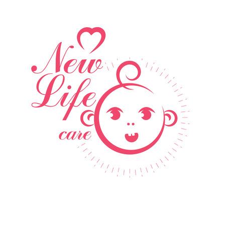 Vektorbabyillustration lokalisiert auf Weiß. Neues Leben beginnt zu zeichnen. Marketingplakat für die Entbindungsstation Vektorgrafik