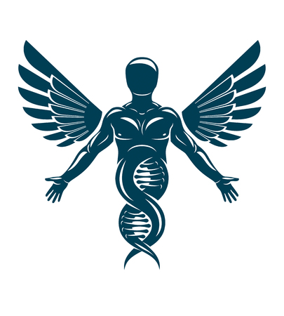 Vector illustration of strong male made as DNA symbol continuation and created with bird wings. Bioengineering and molecular genetics.