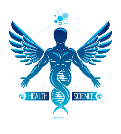 Vector illustration of strong male depicted as DNA symbol continuation and created with bird wings. Molecular genetics. Illustration