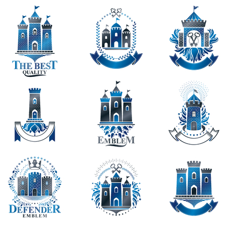 Ancient Fortresses emblems set. Heraldic Coat of Arms, vintage vector logos collection. Stock fotó - 107059094