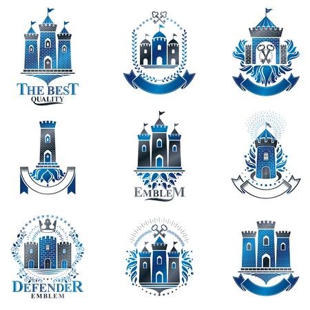 Ensemble d'emblèmes d'anciennes forteresses. Armoiries héraldiques, collection de logos vectoriels vintage.