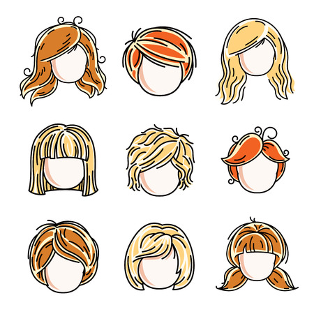 Collection of cute girls faces, vector human head flat illustrations. Set of red-haired and blonde teenage girls, little schoolgirls avatars clipart.