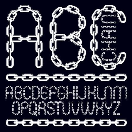Police de type vectoriel, script de a à z. Lettres décoratives majuscules, abc créées à l'aide d'un maillon de chaîne connecté.