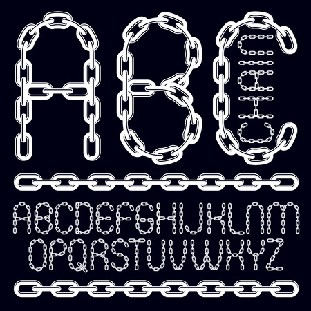 Vector type font, script from a to z. Capital decorative letters, abc created using connected chain link.