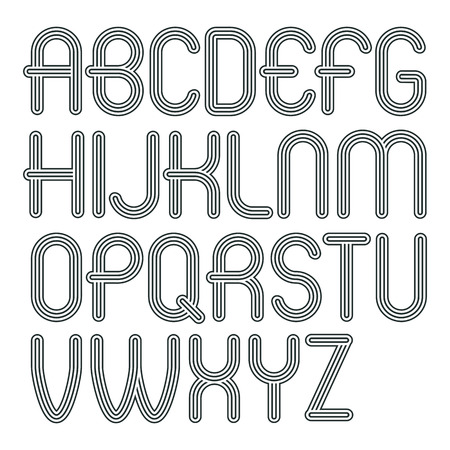Set of trendy modern vector capital alphabet letters isolated. Disco rounded font for use as business poster design elements. Made with geometric parallel triple lines.
