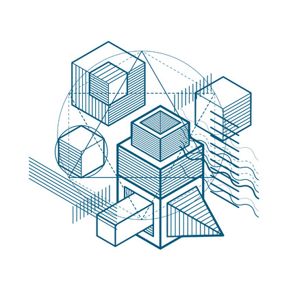 Vector background with abstract isometric lines and figures. Template made with cubes, hexagons, squares, rectangles and different abstract elements. Vectores