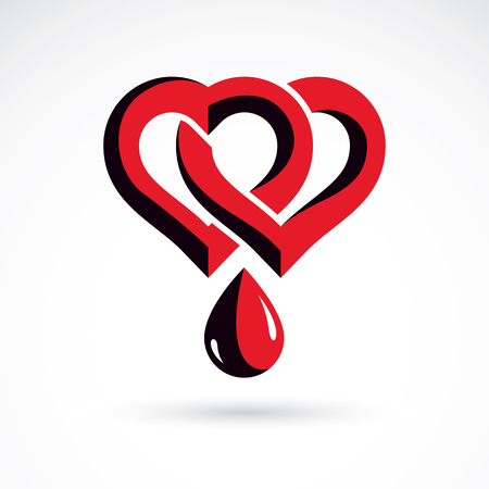 Vector illustration of heart shape and drops of blood. Cardiovascular system diseases remedy conceptual symbol for use in pharmacy.