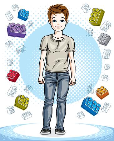 De jonge leuke kinderen die van de tienerjongen modieuze vrijetijdskleding dragen. Vectorillustratie jongen. Mode en lifestyle thema cartoon.