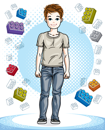 Young teen boy cute children standing wearing fashionable casual clothes. Vector kid illustration. Fashion and lifestyle theme cartoon.