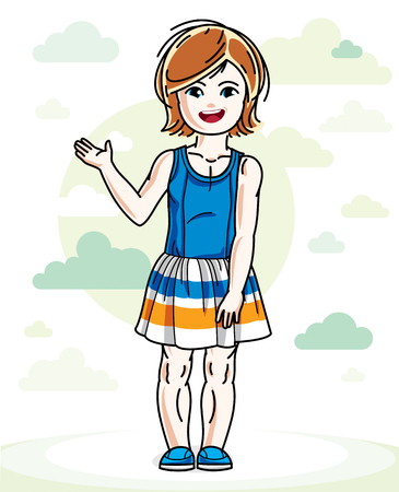 Happy little redhead girl posing on background with blue heavens clouds and wearing fashionable casual clothes. Vector character. Иллюстрация