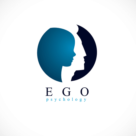 Psychology, ego mental health vector design, created with man head profile and little child boy inside, inner child concept, origin of human individuality and psychic problems. Therapy and analysis.