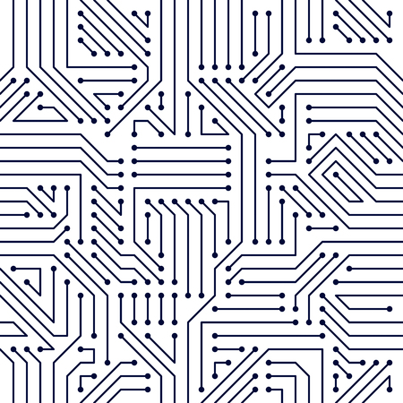 Circuit board seamless pattern, vector background. Microchip technology electronics wallpaper repeat design.  イラスト・ベクター素材