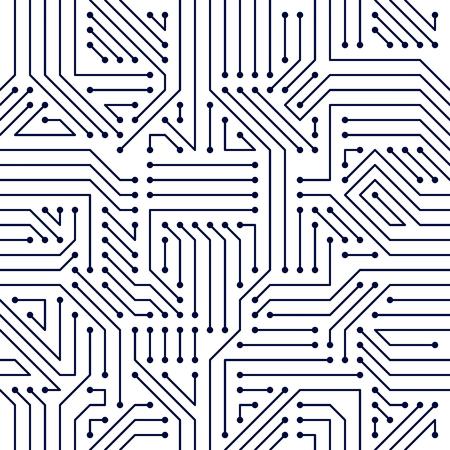 Placa de circuito de patrones sin fisuras, fondo de vector. Diseño de repetición de papel tapiz de electrónica de tecnología de microchip.