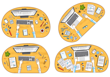 Work desks workspaces top view with hands of office workers or entrepreneurs, PC computers and a lot of different stationery objects on tables. All elements are easy to use separately. Vector set. Ilustrace