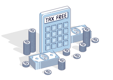 Tax Free concept, calculator and cash money dollar stack and coins isolated on white background. Vector 3d isometric business and finance illustration.