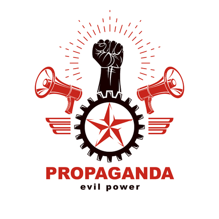 Vector emblem composed with strong raised clenched fist surrounded by cog wheel, freedom wings and loudspeakers. Proletarian leader abstract symbol.