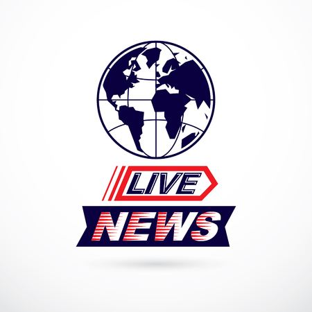 World news concept, vector globe illustration. Journalism theme, live news. Imagens - 111655020