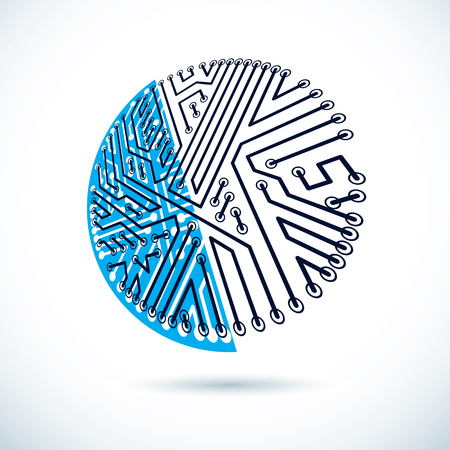 Vector technology cpu design with circular microprocessor scheme. Computer circuit board, digital element. Vector Illustration