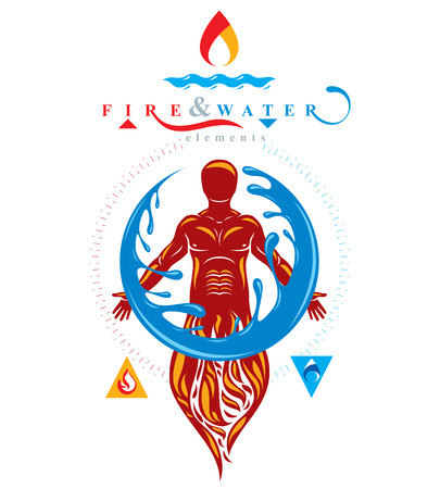Vector illustration of human being standing, mythic ancient god. Prometheus surrounded by a water ball, water and fire diversity and harmony.