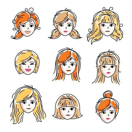 Satz Frauengesichter, menschliche Köpfe. Verschiedene Vektorzeichen wie Rotschopf und blonde Frauen, attraktives Damengesicht kennzeichnet Sammlung.