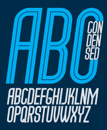 Vector capital thin condensed English alphabet letters collection made with white stripes, best for use in logotype design in telecommunication theme Çizim