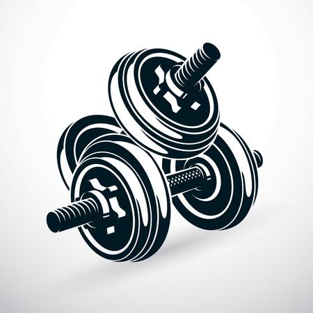 Ilustración de vector con mancuernas aislado en blanco compuesto con peso de disco. Equipamiento deportivo para levantamiento de pesas y entrenamiento de crossfit.