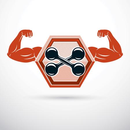 Vector illustration of bodybuilder muscular arm holding dumbbell. Power lifting. Illustration