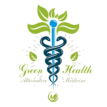 Caduceus vector conceptual emblem created with snakes and green leaves. Wellness and harmony metaphor. Alternative medicine concept, phytotherapy logo. Ilustração