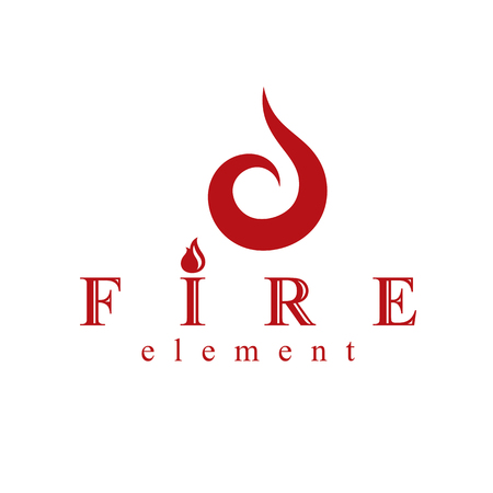 Fire element abstract logo for use as petrol corporate emblem. Oil and gas vector business conceptual symbol. Illusztráció