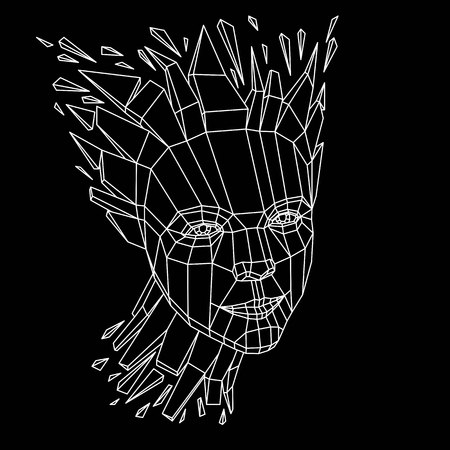 Face of a thinking woman created in low poly style, 3d vector human head, brain exploding which symbolizes intelligence and imagination.