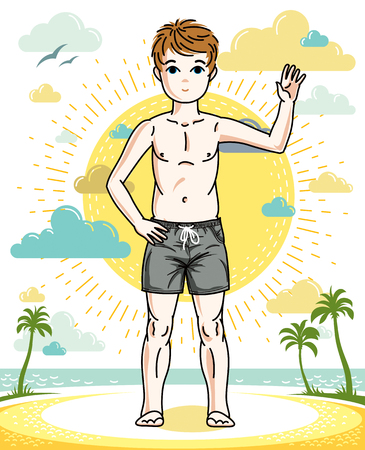 Beautiful happy young teenager boy posing in colorful stylish beach shorts. Vector attractive kid illustration. Childhood lifestyle clip art. Stock Illustratie