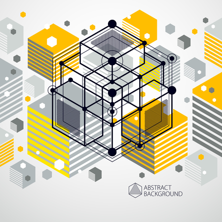 Isometric abstract yellow background with linear dimensional cube shapes, vector 3d mesh elements. Layout of cubes, hexagons, squares, rectangles and different abstract elements.