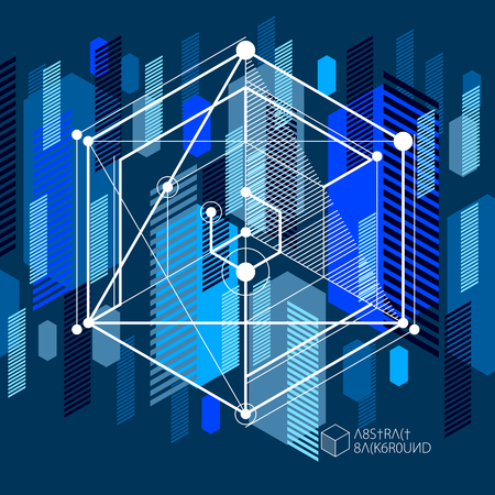 Template 3D dark blue design layout for brochure , flyer , poster, advertising, cover, vector abstract modern background. Composition of cubes, hexagons, squares, rectangles and different abstract elements.