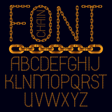 Set of vector business English alphabet letters isolated. Capital creative font made with iron chain, linked connection. Illustration