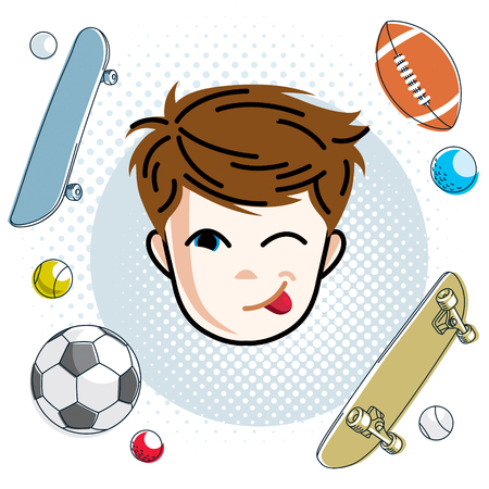 Cute boy face, human head. Vector redhead character making funny grimace, winking toddler face features, sport and entertainment clipart.